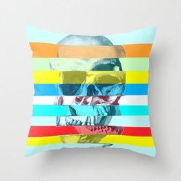 Striped Glitch Skull Throw Pillow