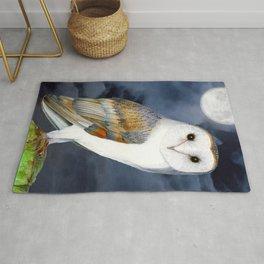 Barn Owl Bird Watercolor Artwork Rug