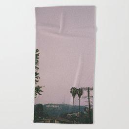 Rainy Hollywood - a rare sight Beach Towel