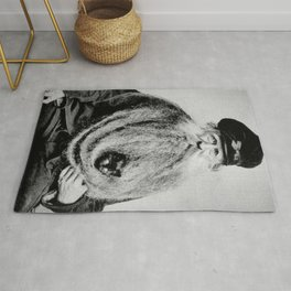 Kitten in the Beard of Old Man black and white photograph Rug