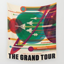 Retro Space Poster - The Grand Tour Wall Tapestry
