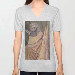 Reproduction of a Section of The Trial By Fire Fresco by Giotto Unisex V-Neck