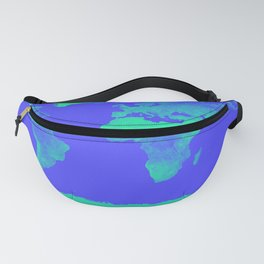 World Map Periwinkle Blue Mint Fanny Pack