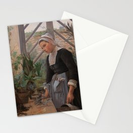 Anna Petersen - Breton Girl Looking After Plants in the Hothouse (1884) Stationery Cards