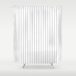White Black Pinstripes Minimalist Shower Curtain