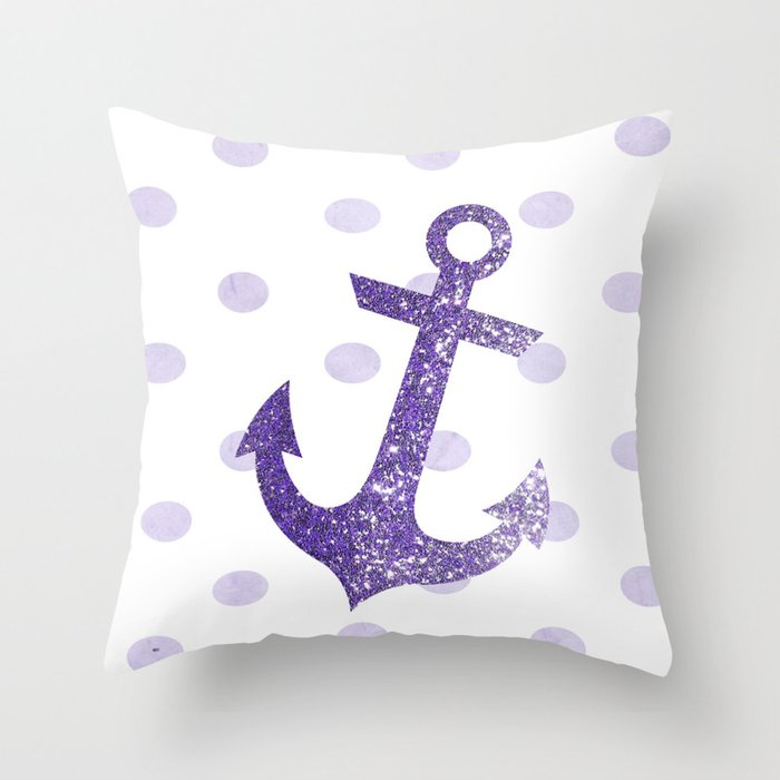 GLITTER ANCHOR AND DOTS in VIOLET Throw Pillow