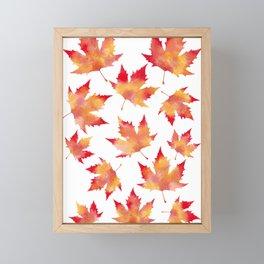 Maple leaves white Framed Mini Art Print
