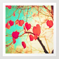 Beating heart-shaped leafs Art Print