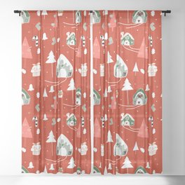 gingerbread house red #Christmas #Holiday Sheer Curtain