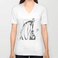 gandalf V-neck T-shirts featuring Gandalf by 4nima