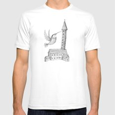 'Tower' White Mens Fitted Tee MEDIUM