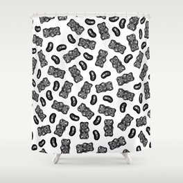 Jelly Beans & Gummy Bears Pattern - black on white Shower Curtain