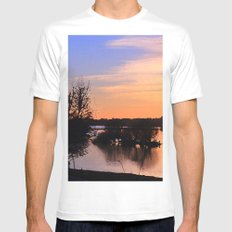 River Sunset Mens Fitted Tee MEDIUM White
