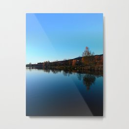 Indian summer sunset at the fishing lake | waterscape photography Metal Print