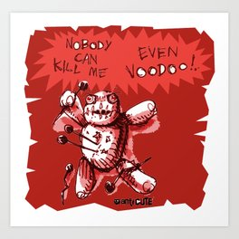 cartton style voodoo baby with red background Art Print