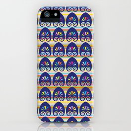 Multicolored fans and stripes pattern iPhone Case
