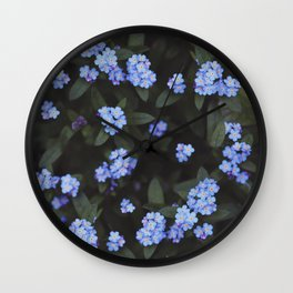 Dark Garden: Forget-me-nots Wall Clock