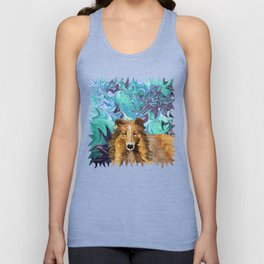 The Inquisitive Collie of the Psychedelic Dog Parade Unisex Tank Top