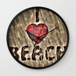 i love the beach Wall Clock