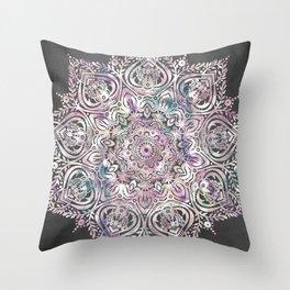Dreams Mandala - Magical Purple on Gray Throw Pillow