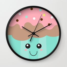 Happy Cupcake with Pink icing and Sprinkles Wall Clock