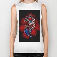 patriotic Biker Tanks featuring Patriotic Eagle by Mr D's Abstract Adventures