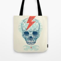 teeth Tote Bags featuring Skull Bolt by Rachel Caldwell