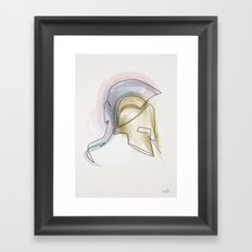 One line Leonidas helmet Framed Art Print