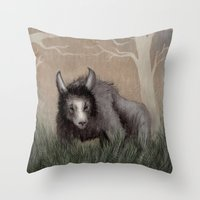beastie boys Throw Pillows featuring Forest Beastie by Mr Patch