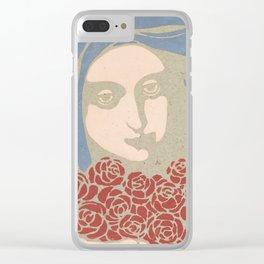 Woman's Head with Roses, Koloman Moser, 1899 Clear iPhone Case