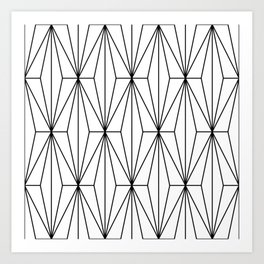 Black White Geometric Pattern Illustration Art Print