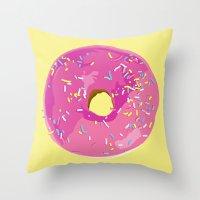 donut Throw Pillows featuring donut by Britt Mansouri