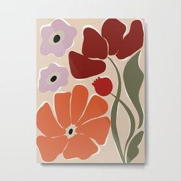 abstract flower retro flow art print  Metal Print