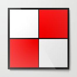 2 Colors Block Pattern Red and White Metal Print