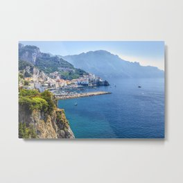 Amalfi Town on the Mediterranean Sea Metal Print