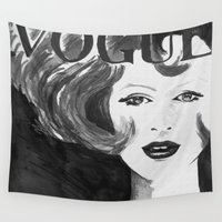 vogue Wall Tapestries featuring Vintage Vogue (Black & White) by Nathan Dixon Art