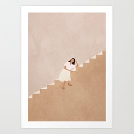 Girl Thinking on a Stairway Art Print