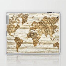 World map of wood Laptop & iPad Skin
