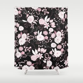 Blush pink white black rustic abstract floral illustration Shower Curtain