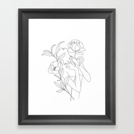 Minimal Line Art Woman with Peonies Framed Art Print