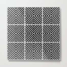 Black and white quilt patchwork composition Metal Print