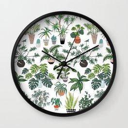 plants and pots pattern Wall Clock