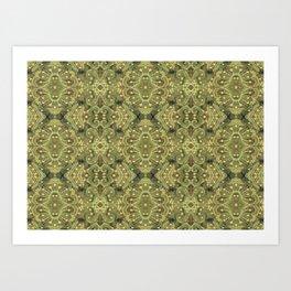 Wool Arabesque Bohemian Pattern Fiber Texture Olive Khaki Art Print