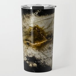 Black and white marble with yellow triangle Travel Mug