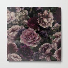 Roses In Burgundy And Pink Vintage Botanical Garden Flowers Metal Print