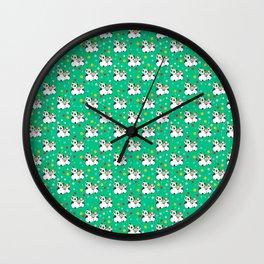 Panda family on meadow in wreaths Wall Clock
