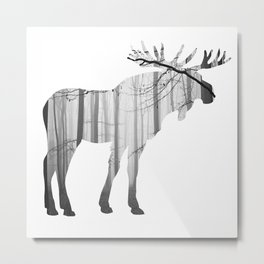 Forest Moose Metal Print