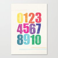 numbers Canvas Prints featuring Numbers by Laura Flowerday (PaperCrane)
