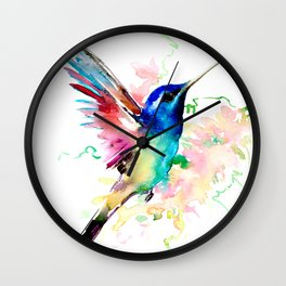 Hummingbird , Blue Turquoise Pink Wall Clock