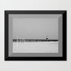 Lake Michigan Beacon Light in Black & White Canvas Print